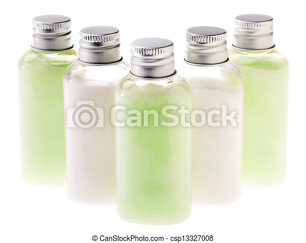 garrafas, &, isolado, loção, verde branco - csp13327008