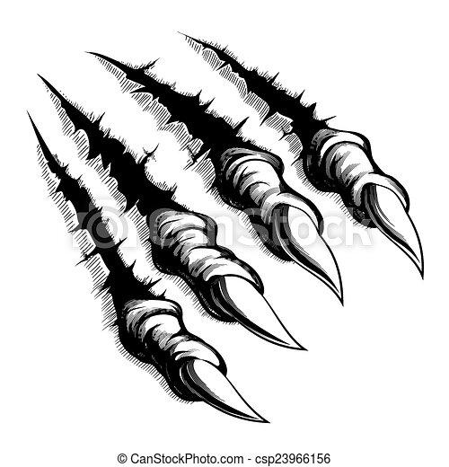Las garras de monstruo atraviesan el fondo blanco - csp23966156