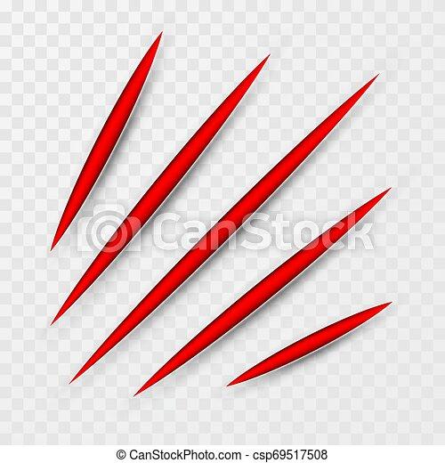 Araña de arañazos. Garras rascándose las vías de los animales. Ilustración de vectores - csp69517508