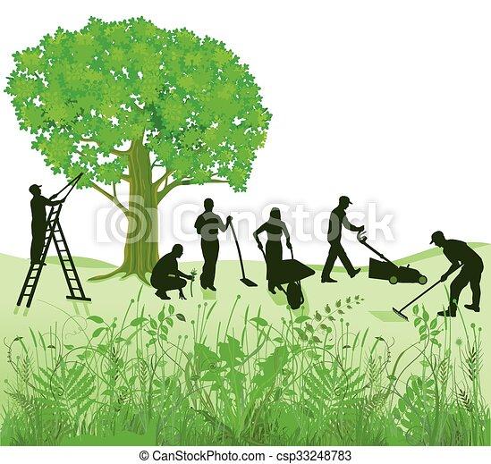 Gartenarbeit auf Wiese.eps - csp33248783