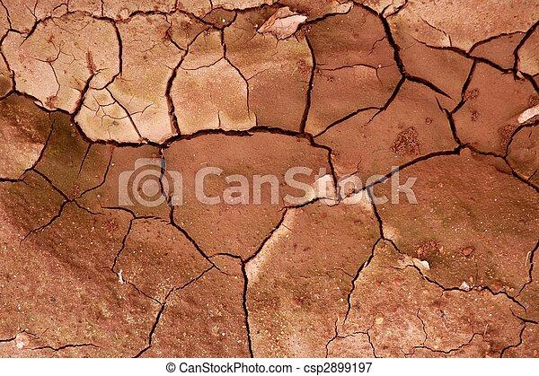 Clay getrockneter roter Boden zerriss die Textur Hintergrund - csp2899197
