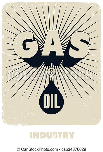 Gas and Oil. Retro typographical gr - csp34376029