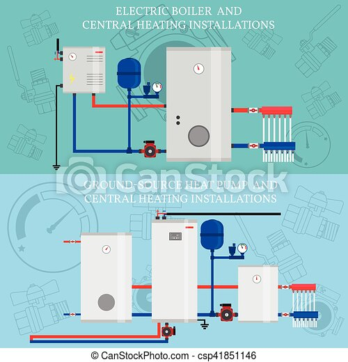 Gas boiler and central heating installations. Electric boiler and ...