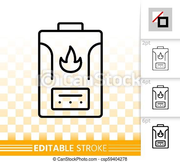 Gas boiler simple black line vector icon. Gas boiler thin line icon ...