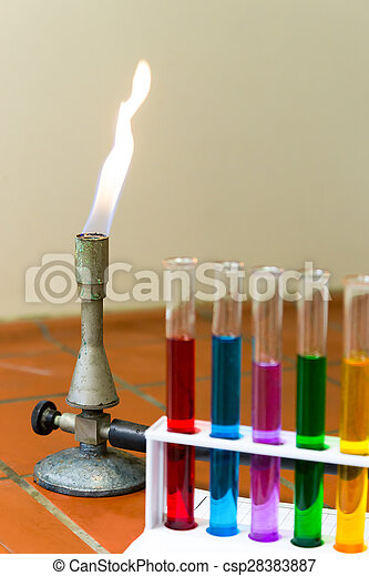Gas burner with colored test tubes - csp28383887