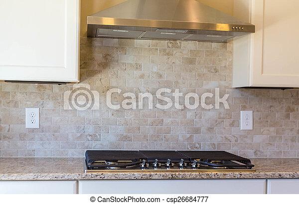 Modern Empty Kitchen With Granite Countertops
