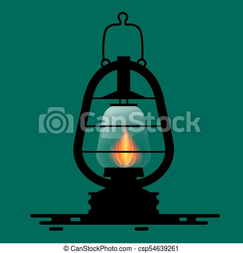 Gas Lamp Symbol with Fire Flame. Vector. - csp54639261