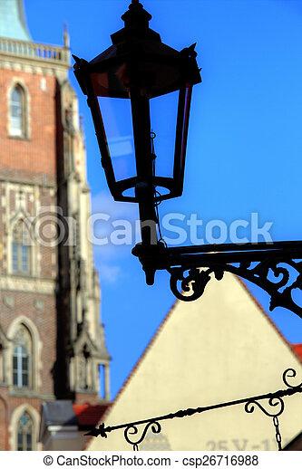 Gas lantern on Ostrow Tumski, Wroclaw in Poland - csp26716988