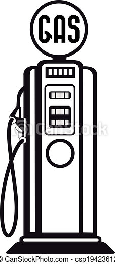 Old Gas Station Drawing Gas pump. Image of an ...