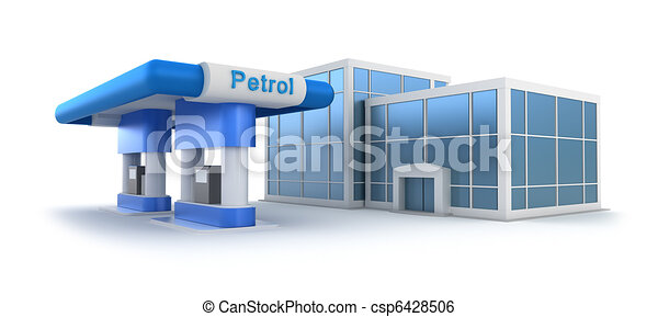 Gas station and market over white - csp6428506