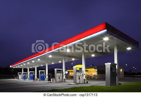 Gas station at night  - csp1317113