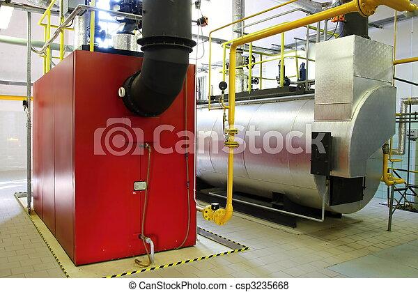 Gas steam boiler, interior independent modern gas boiler-heating.