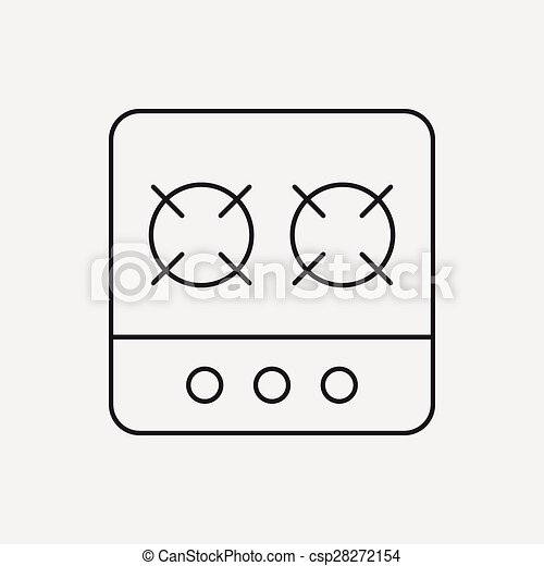 gas stove clipart black and white. vector - gas stove line icon clipart black and white
