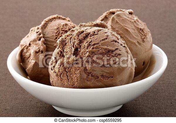 Delicioso helado de chocolate gourmet, - csp6559295