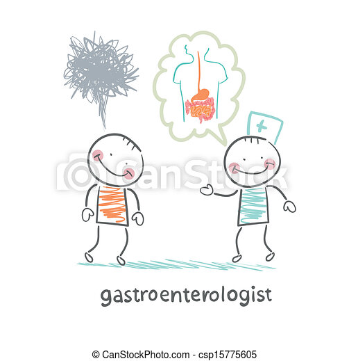 gastroenterologist tells the patient about the disease - csp15775605