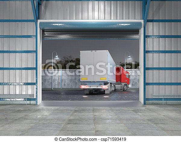 gate., イラスト, 内部, 格納庫, 開いた, 3d - csp71593419