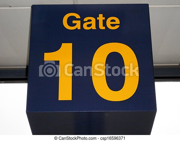 Gate Number 10 Sign In Airport