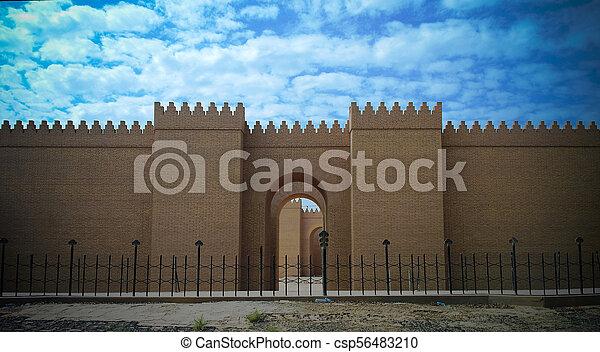 gate of partially restored babylon ruins hillah iraq gate of