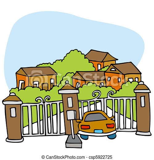 An image of a car at the front gate of a gated community ...