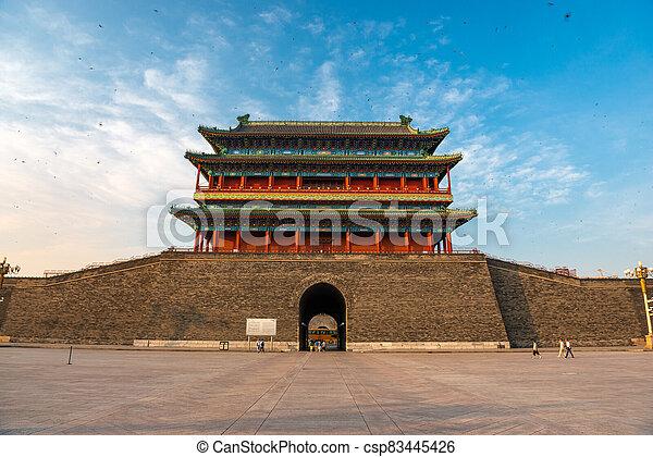 gatehouse, cuadrado, zhengyangmen, tiananmen - csp83445426
