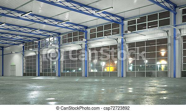 gates., イラスト, ガラス, 内部, 格納庫, 3d - csp72723892