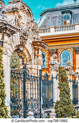 Gates in the territory of Budapest Royal Castle at day time. Hungary - csp79815862