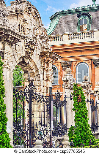 Gates in the territory of Budapest Royal Castle at day time. Hungary - csp37785545