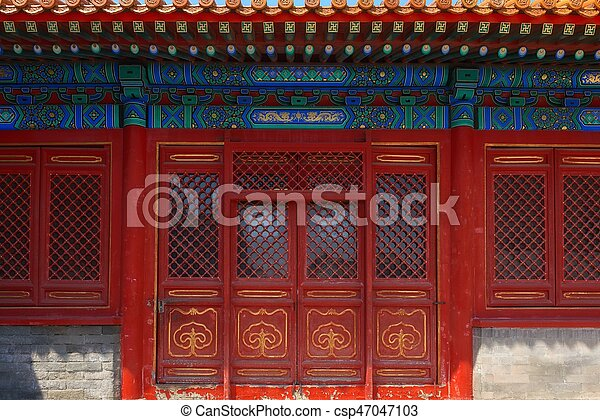 Gateway with red Chinese doors - csp47047103 & Gateway with red chinese doors closeup photo stock photography ...
