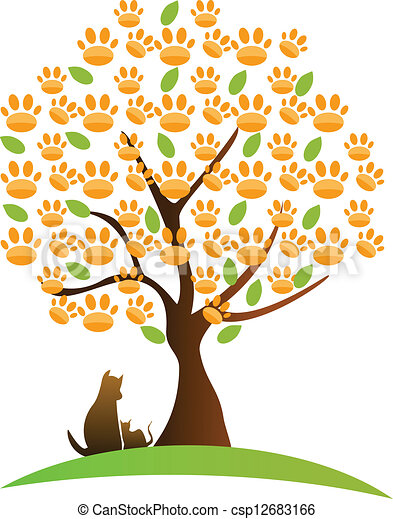 Gato, logotipo de perro y árbol - csp12683166