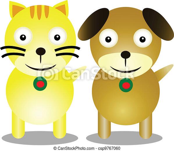 Gato Amistad Caricatura Perro Frienship Perro Ilustración