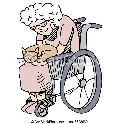 Amante del gato mayor - csp16528660