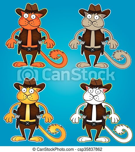 Gato vaquero de dibujos animados con vector de armas - csp35837862