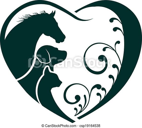 Logo caballo, perro y gato amor corazón - csp19164538