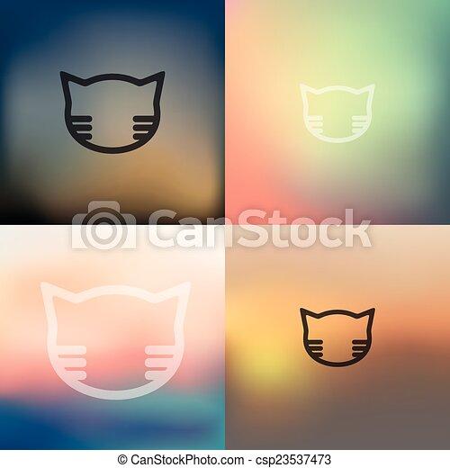 gato, fundo borrado, ícone - csp23537473