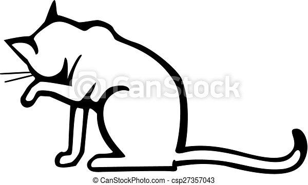 gato lavando rosto lavando sentando desenho rosto vetorial