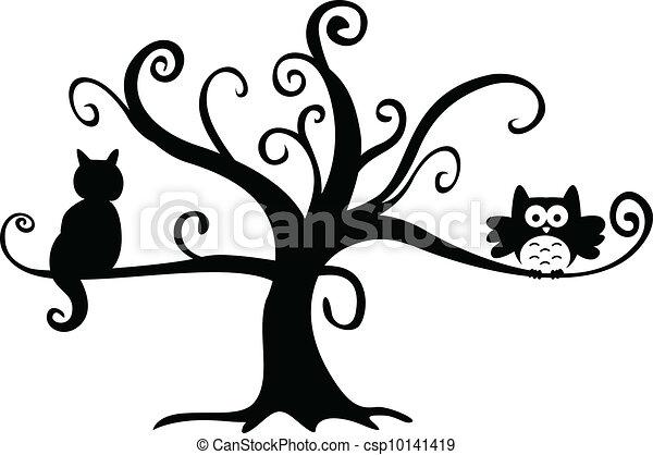 Noche de Brujas búho y gato en árbol - csp10141419