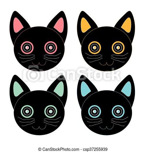 gato pretas coloridos rosto impressão ilustração gráfico