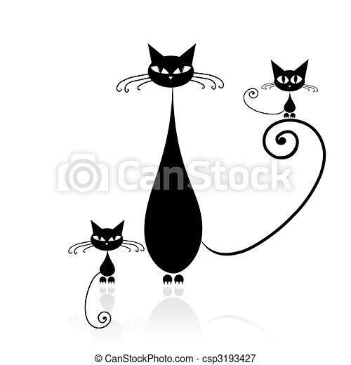 gato, pretas, seu, desenho, silueta - csp3193427