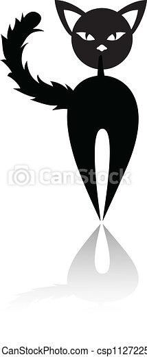 gato preto, silueta - csp11272255