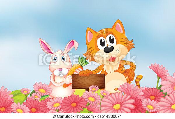 Un conejo sosteniendo una zanahoria y un gato sosteniendo un cartel vacío - csp14380071