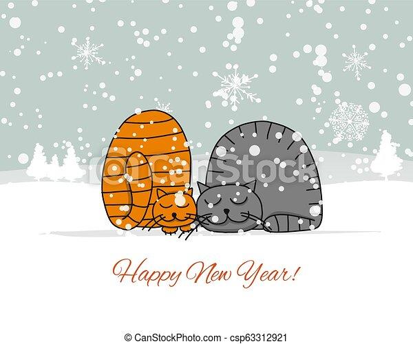 Diseño de tarjetas de Navidad con gatos dormidos - csp63312921