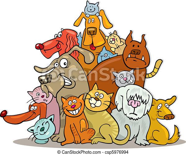 Amizade Gatos Grupo Cachorros Ilustracao
