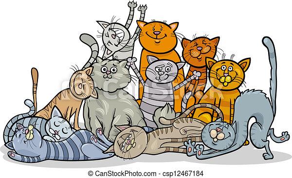 La ilustración del grupo de gatos felices - csp12467184