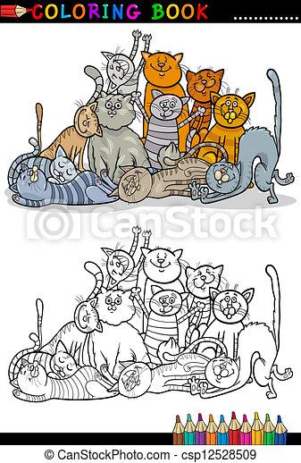 Gatos, libro colorear, ilustración, caricatura. Colorido, grupo ...