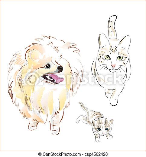 Perro y gatos - csp4502428