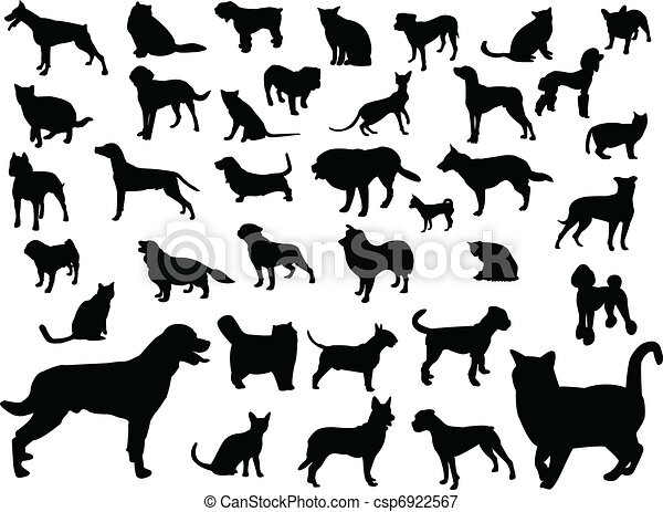 Perros y gatos silueta - csp6922567