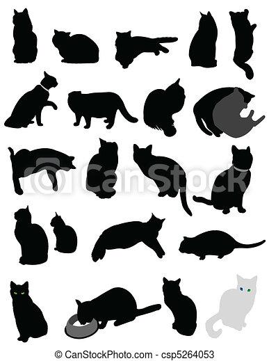 Siluetas gatos - csp5264053