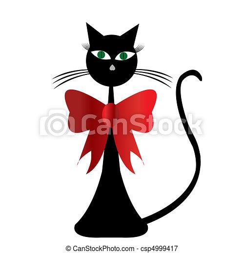 Gatto Stilizzato Nero Rosso Vwith Nastro