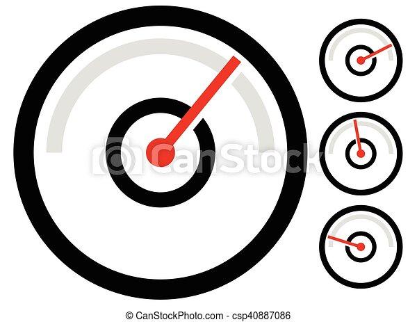 Gauge meter symbol, icon at 4 stages. pressure gauge, odometer ...