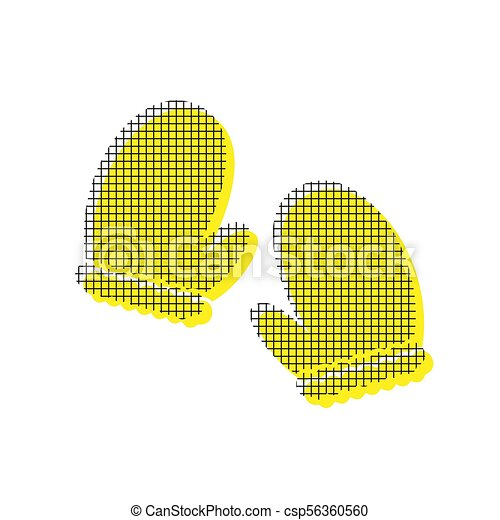 Gauntlet sign illustration. Vector. Yellow icon with square patt - csp56360560